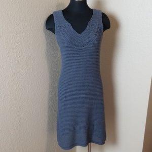 Athleta Lined Gray Crochet Sleeveless Dress